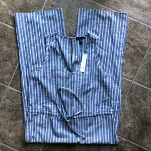 Anthropologie Drew NWT Blue White Stripe Jumpsuit
